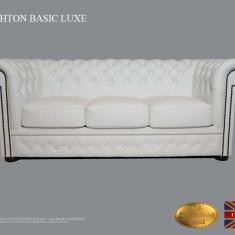 Canapea Chesterfield Basic Lux ,White ,3 locuri,Piele naturală