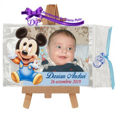 Marturii botez magnet contur Mickey Mouse Handmade by Diana Puiu MCBM 4