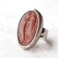 INEL argint cu ZEITA ZORILOR EOS sculptata in CARNEOL exceptional UNICAT superb