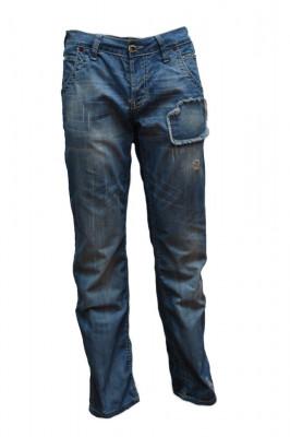 Pantalon de blug de culoare albastra, cu model cu aspect uzat foto