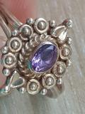 Inel AMETIST- argint 925 - manufactura vintage, 57 - 67
