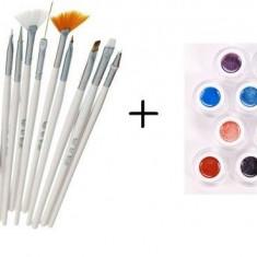 Pachet Pensule Nail Art Brush - Set 15 bucati + Set 12 Geluri UV Color