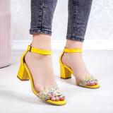 Sandale dama Piele galbene cu flori Vabitili-20