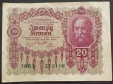 Bancnota ISTORICA 20 COROANE - AUSTRO-UNGARIA (AUSTRIA), anul 1922   *cod 744 A