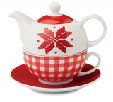 Ceainic ceramic cu model nordic alb-rosu