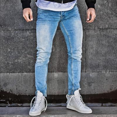 Blugi pentru barbati, albastri, slim fit, conici, casual, skinny, model simplu - 0066 foto