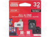 CARD MEMORIE MICRO SD GOODRAM-32GB C10+ADAPTOR ALL IN ONE OTG CARD READER