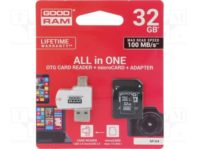 CARD MEMORIE MICRO SD GOODRAM-32GB C10+ADAPTOR ALL IN ONE OTG CARD READER