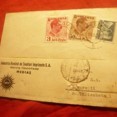 Carte Postala Comerciala Antet Ind.Romana Tesaturi...SA Medias 1938