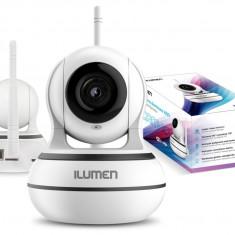 Camera de Supraveghere Smart WiFi, Rezolutie 960p HD, Night Vision, Rotire Automata 355°, Conectare Telefon, microSD