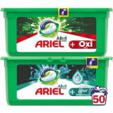 Pachet promo: Detergent capsule Ariel All in One PODS+ Oxi Efect 25 spalari + Detergent capsule Ariel All in One PODS+ Unstoppables 25 spalari