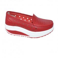 Pantofi casual perforati din talpa ortopedica ,rosu