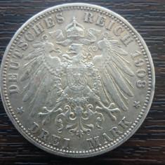 (A741) MONEDA DIN ARGINT GERMANIA, PRUSIA - 3 MARK 1908, LIT. A, WILHELM II