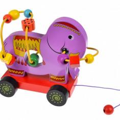 Jucarie elefant de tras, spirala motrica pentru copii, cu animalute - 22263162A