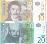 Bancnota Serbia 10 si 20 Dinari 2006/2013 - P46/55 UNC ( set x2 )