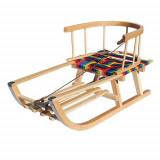 Saniuta de lemn cu sezut textil colorat, suport picioare si spatar, Adbor