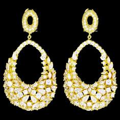 Cercei placati cu Aur 18K si Diamante, Chrystal Gold