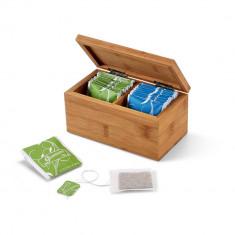 Cutie de ceaiuri cu 2 compartimente, Everestus, TA01, bambus, natur, saculet de calatorie inclus