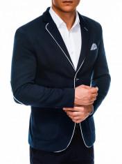 Sacou pentru barbati, bleumarin, casual, slim fit, cu buzunare aplicate, elegant, inchidere doi nasturi - M81 foto