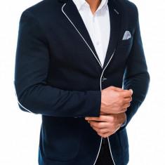 Sacou pentru barbati, bleumarin, casual, slim fit, cu buzunare aplicate, elegant, inchidere doi nasturi - M81
