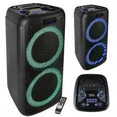 Boxa activa portabila, 200 W RMS, 20 cm, USB/SD/Bluetooth, afisaj LED, Negru