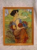 TABLOU PICTURA PE STICLA IN RAMA LEMN 26/32 CM, Flori, Ulei, Art Deco