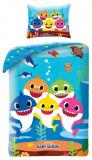 Lenjerie de pat pentru copii Baby Shark 140 x 200 cm, 70 x 90 cm