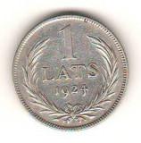 SV * Letonia / Republika Latvijas   1  LAT  1924 * ARGINT         +/- XF, Europa