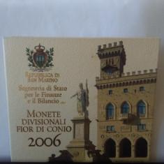 SET 8 MONEDE EURO - REPUBLICA SANMARINO 2006, ÎN BLISTER CU MONEDA DE 5 EURO AG.