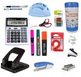 Set Birou 4 - Perforator, Capsator, Capse, Decapsator, Textmarker, Calculator, Stick Notes, Pix, Marker, Servetele, Foarfeca..