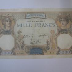 Franta 1000 Francs/Franci 1938 bancnota mare,dimensiuni=232 x 130 mm