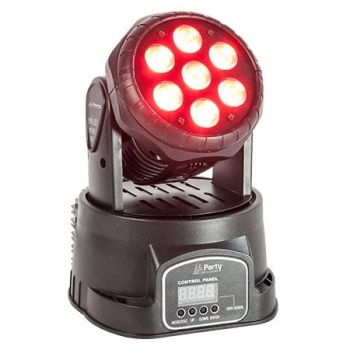 Proiector Moving head 4 in 1, 7 LED-uri RGBW, 7 x 8 W