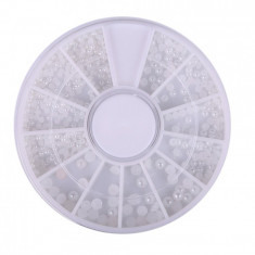 Carusel decor pentru unghii J215, model bile albe