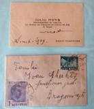 Carte de vizita si plic timbrat Carol al II-lea. Maramures 1939.