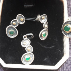 Set argint 925 model vintage cu smarald