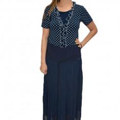 Fusta plisata lunga, casual-eleganta, in nuanta de bleumarin, 44, 46, 48, 50, 52