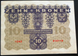 Bancnota ISTORICA 10 COROANE - AUSTRO-UNGARIA (AUSTRIA), anul 1922   *cod 630 A
