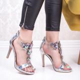 Sandale cu toc dama argintii Flyena