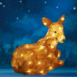 Figurina luminoasa caprioara cu pui, 50 LED-uri alb cald, interior/exterior, acril