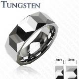 Cumpara ieftin Inel din tungsten - model prismă - Marime inel: 67
