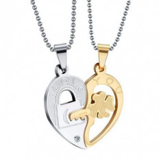 Set Pandantive Medalioane Lantisoare Cuplu Indragostiti Inima Inox m4