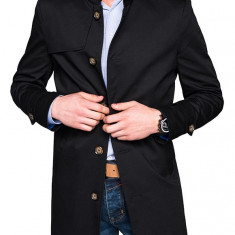 Trench pentru barbati negru stil palton elegant nasturi casual slim fit C269