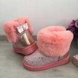 Cizme roz cu sclipici si fundita imblanite de iarna fete copii 31 34