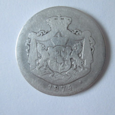 Romania 1 Leu 1874 argint,moneda uzata