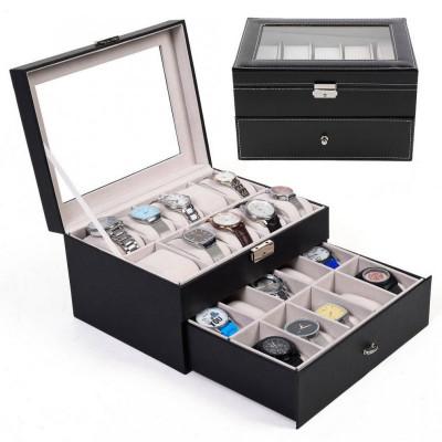 Cutie depozitare 20 ceasuri piele ecologica foto