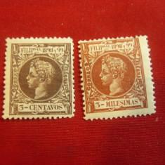 2 Timbre Filipine 1898 Rege Alphons XIII , 2 valori 3C si 3 M, Nestampilat
