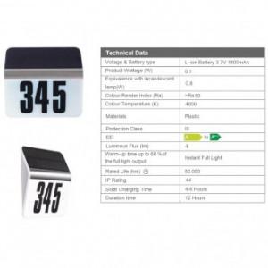 Lampa solara, Omnia House Number, 0.1W, 4 lm, pentru iluminare numar casa, IP44