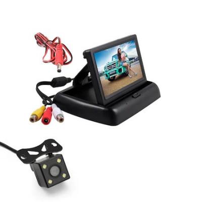 "Kit 2in1 auto ecran pliabil TFT LCD 4.3"" + camera auto pentru marsarier foto"