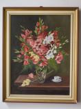Tablou ulei natura statica Flori Gladiole in vaza, semnat, Realism