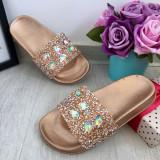 Cumpara ieftin Sandale aurii bronz cu pietricele papuci cu strasuri pt fete 31 35 cod 0784